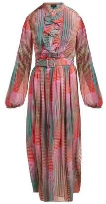 Saloni Raquel Checked Silk Crepe De Chine Midi Dress - Womens - Pink Multi
