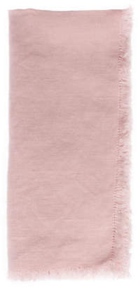 Canvas Set of 4 Fringed Linen Dinner Napkins - Pink