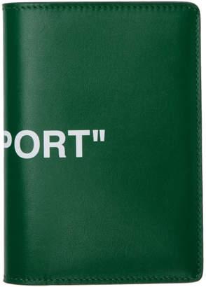 Off-White Green Quote Passport Holder