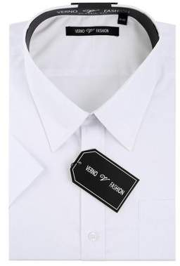 Verno Mens White Classic Fit Short Sleeves Dress Shirt