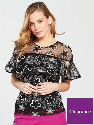 9725a3764f5b2 at Littlewoods · V By Very Petite Embroidered Mesh Ruffle Top - Black Ivory