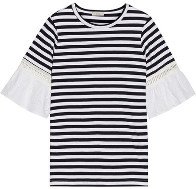 Clu CLU - Broderie Anglaise-trimmed Striped Cotton-jersey T-shirt - Navy