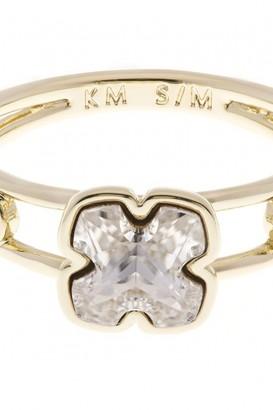 Karen Millen Jewellery Ladies Gold Plated Art Glass Flower Ring Size ML KMJ925-30-02ML