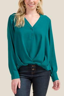 Maria Pleated Front Popover Blouse - Forest