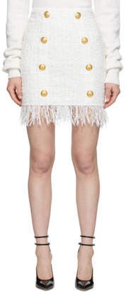 Balmain White Fringed Tweed Miniskirt