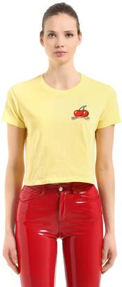 Fiorucci Vintage Cherries Jersey Crop T-Shirt