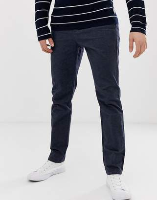 Selected slim tailored textured trousers in navy