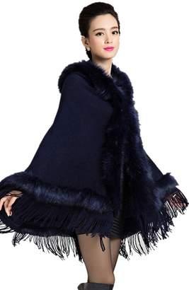 Charmly Hot Autumn and winter fashion women 's fur coat shawl retro knit cape cardigan jacket