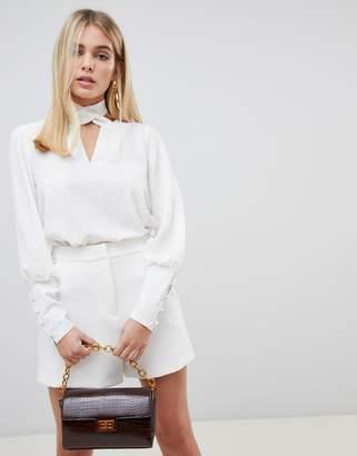 Fashion Union twist collar blouse in glitter spot