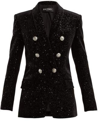 Balmain - Double Breasted Glitter Velvet Blazer - Womens - Black Silver
