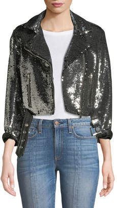 Nour Hammour Sequined Cropped Biker Jacket