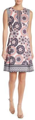 Maggy London Printed Split Neck Dress