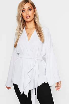 boohoo Plus Aisley Wide Sleeve Wrap Front Tie Top