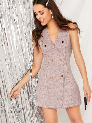 Shein Double Breasted Raw Trim Tweed Dress