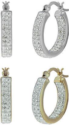 JCPenney FINE JEWELRY Inside-Out Crystal Hoop Earrings 2-Pair Set