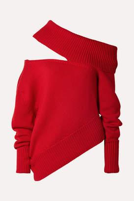Monse Oversized Cutout Wool Sweater - Red