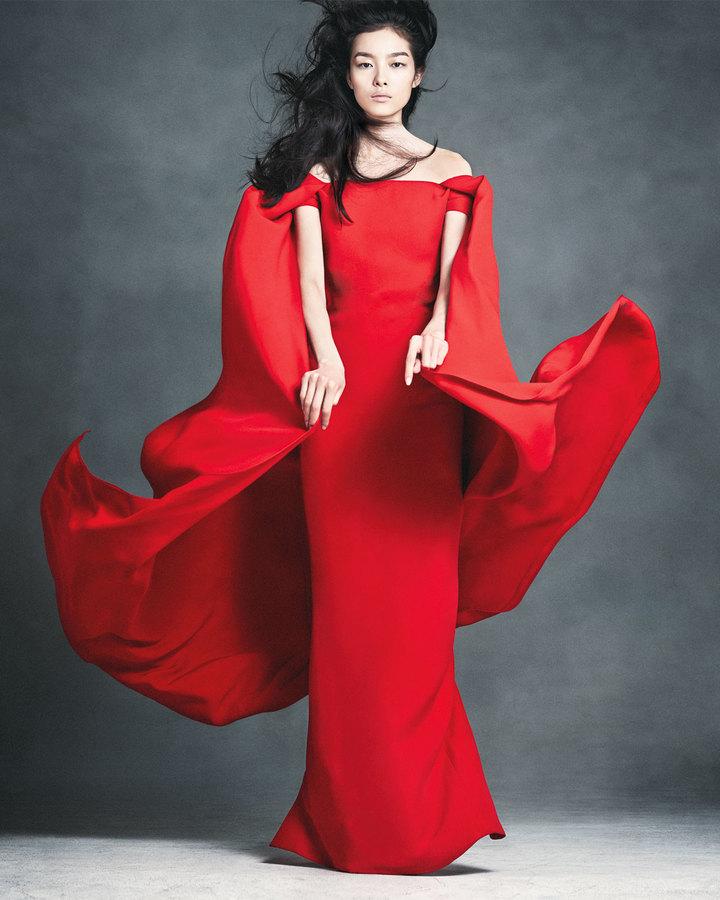 Ralph Lauren Audrey Cape Evening Gown