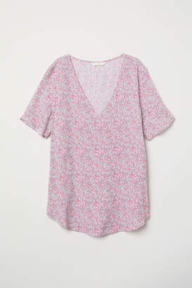 H&M Short-sleeved Viscose Blouse - White