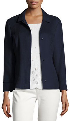 Loro Piana Carys Piped Cashmere Jacket, Blue $4,725 thestylecure.com