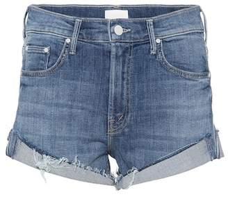 Mother Rascal cuffed denim cut-off shorts