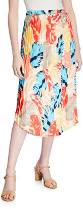 Laundry by Shelli Segal Palm-Print Pleated Midi Skirt