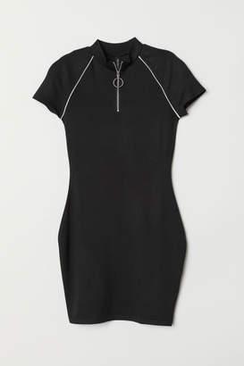 H&M Jersey Dress with Zip - Black