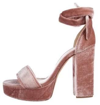 Alexandre Birman Platform Velvet Sandals