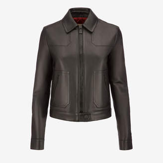 Bally Leather Blouson Jacket Black, Women's calf leather blouson jacket in black