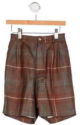 Papo d'Anjo Girls' Plaid Wool Shorts