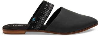 Toms Black Leather with Embroidered Strap Women's Jutti Mules