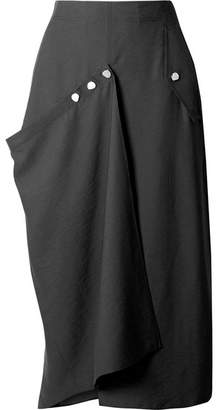 Tibi Convertible Draped Woven Midi Skirt - Black
