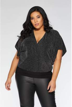 Quiz Curve Black And Silver Batwing Top