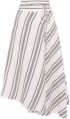 Apiece Apart Rosehip Asymmetric Striped Linen And Silk-blend Wrap Midi Skirt - White