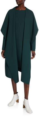 Lafayette 148 New York Hemingway Draped Open-Front Wool Crepe Coat