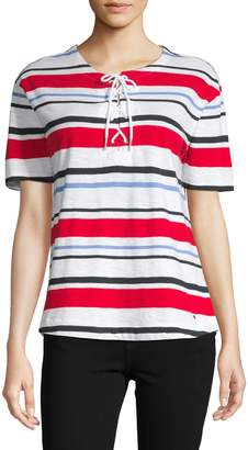 Tommy Hilfiger Striped Lace-Up Cotton Top