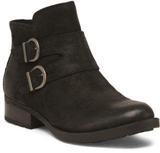 Buckle Ankle Leather Booties