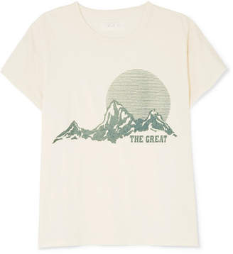 The Great The Boxy Crew Distressed Printed Cotton-jersey T-shirt - Cream