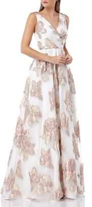 Carmen Marc Valvo Organza Pleated Gown