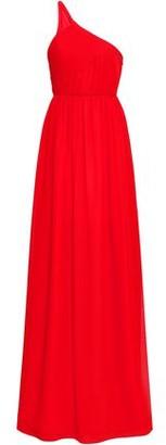 Lanvin One-shoulder Plisse Silk-georgette Gown
