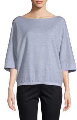 Lafayette 148 New York Three-Quarter Sleeve Ribbed Sweater