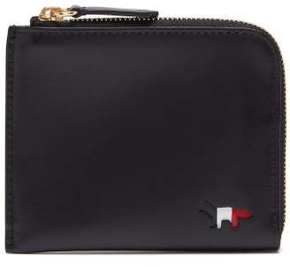 MAISON KITSUNÉ Fox Motif Leather Wallet - Mens - Black
