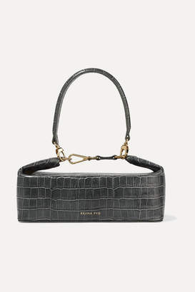 REJINA PYO Olivia Croc-effect Leather Tote - Anthracite