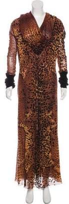 Jean Paul Gaultier Printed Fuzzi Maxi Dress