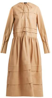 Joseph Odette Tiered Leather Dress - Womens - Beige
