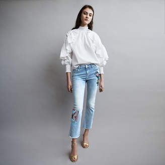 Maje Embroidered flare jeans