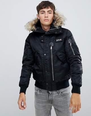 Schott Tempest 17 hooded flight bomber jacket with detachable faux fur trim in black