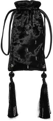 ATTICO Embellished Velvet Pouch - Black