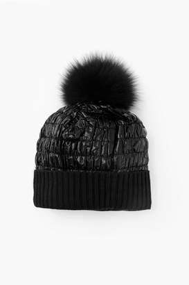 Look By M Taupe Puffer Pom Pom Hat