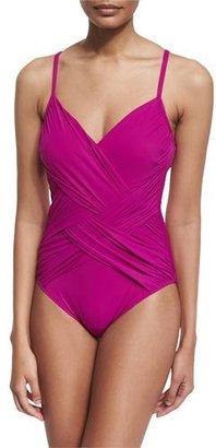 Gottex Lattice V-Neck One-Piece Swimsuit, Magenta $158 thestylecure.com