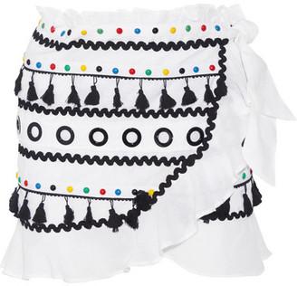 Dodo Bar Or - Abigail Embellished Cotton-gauze Wrap Mini Skirt - White